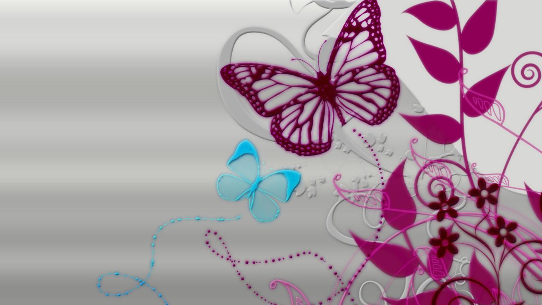 Bio Eco Design Free Butterflies on Flowers Wallpaper Wallpaper