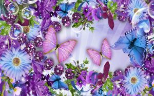 Flowers And Butterflies Photo