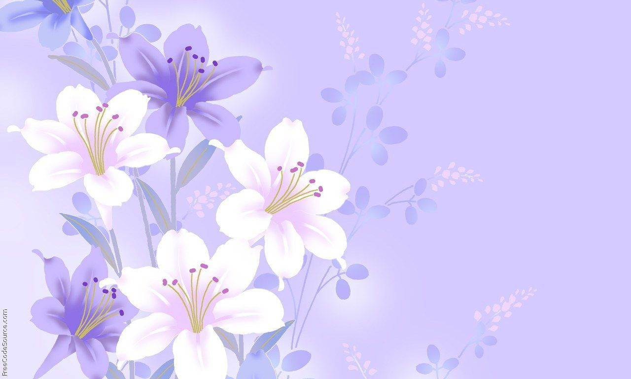 High Definition Purple Floral Wallpaper
