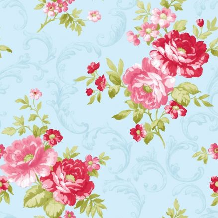 Wallpaper Blue And Pink Flower