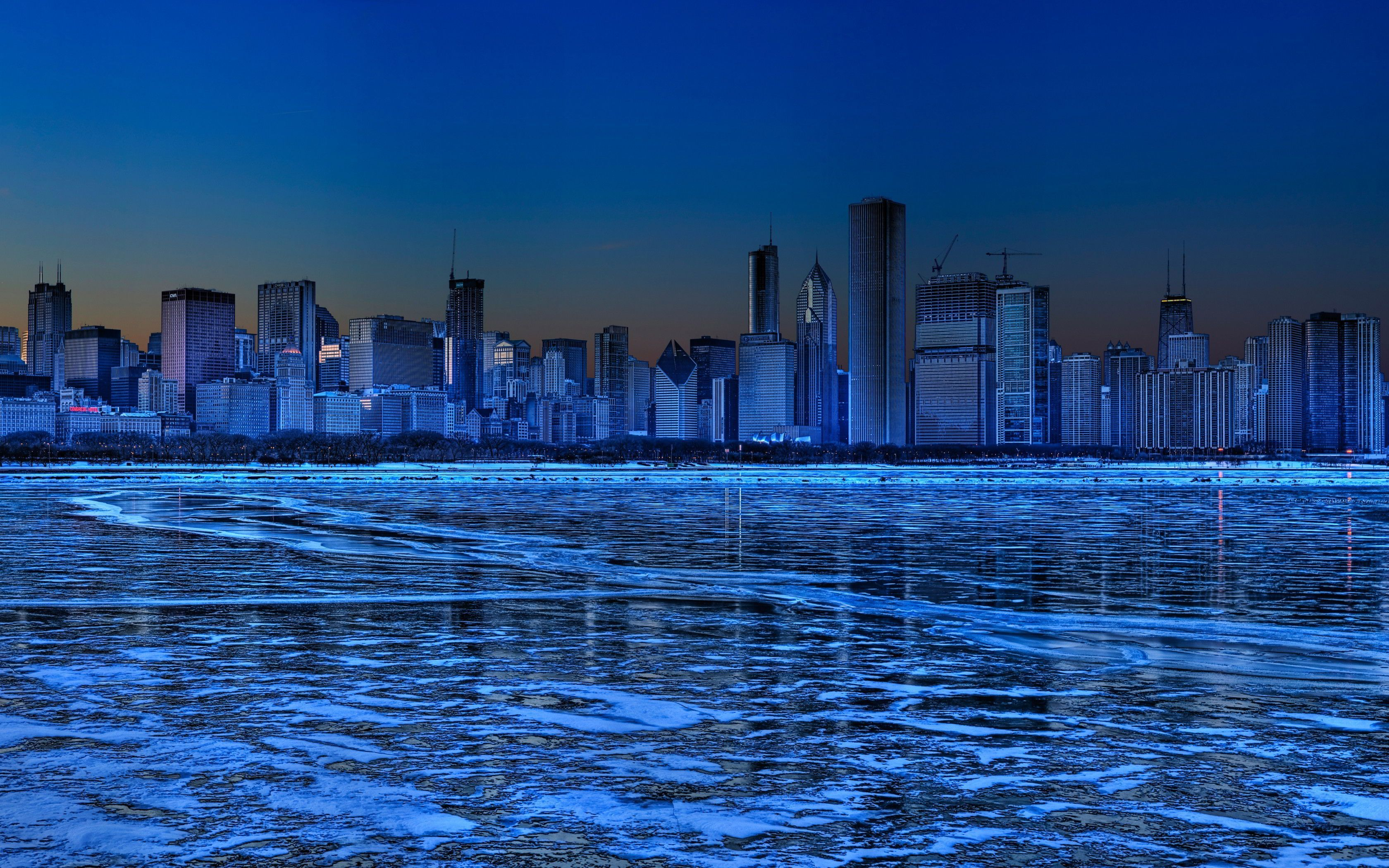 Chicago Skyline At Night High Quality Wallpapers For Free
