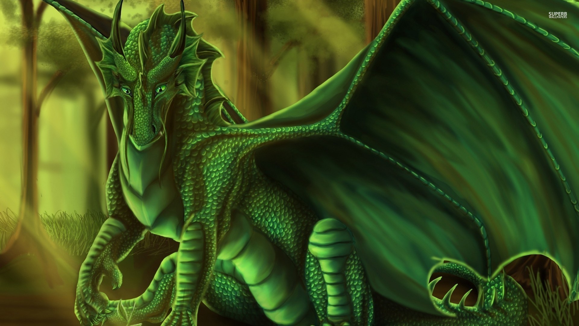 Green Dragon Wallpaper HD