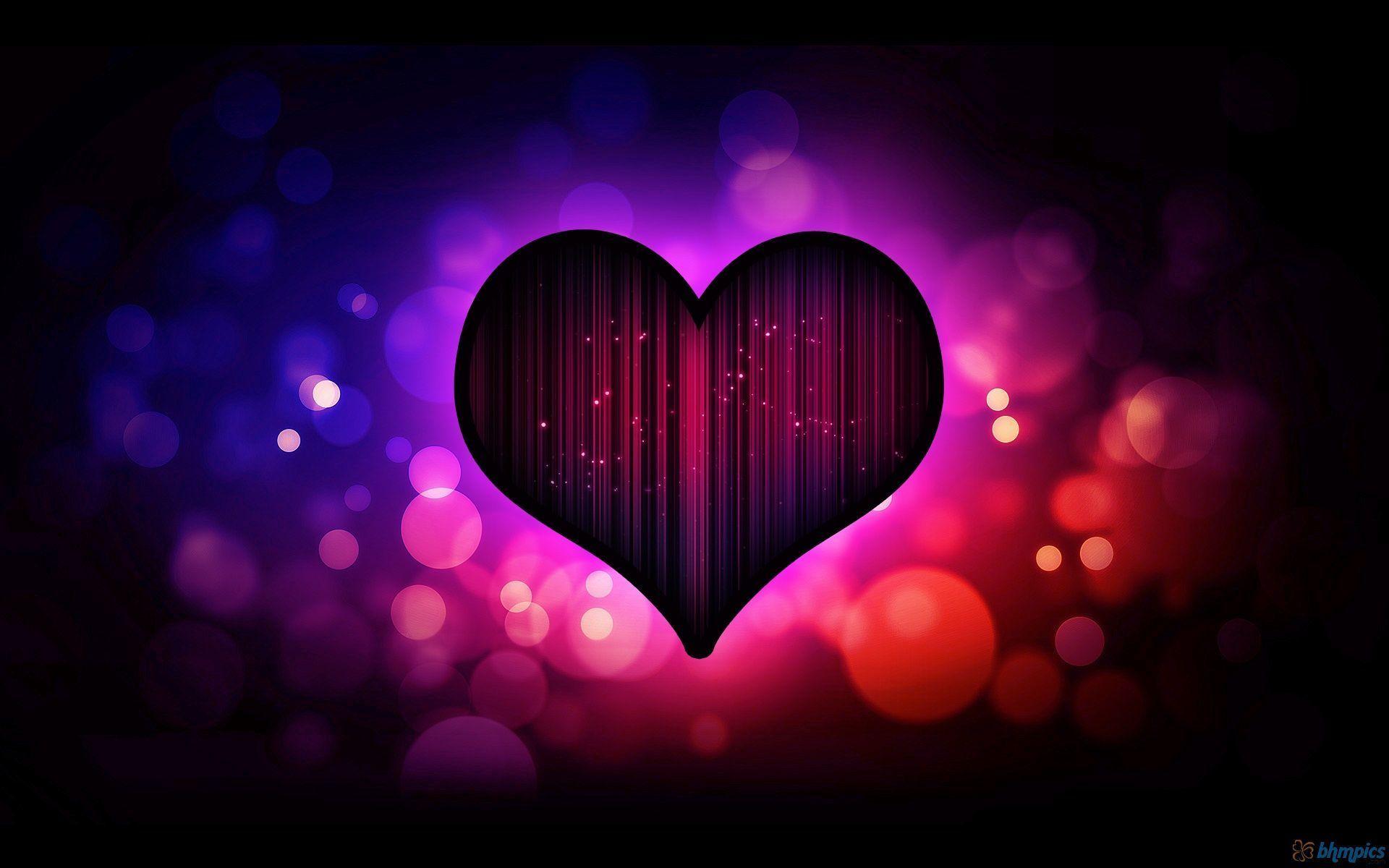 neon heart wallpaper 001